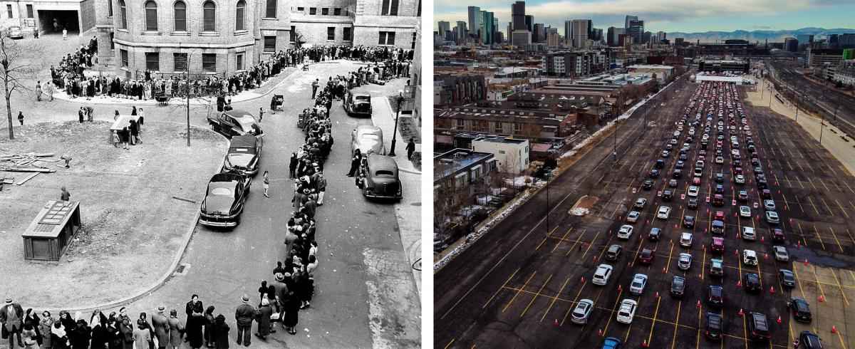 Left: Thousands of New Yorkers, on an appeal by government officials, came to city hospitals and health stations to get vaccinated against smallpox. Here a crowd lines up outside a Bronx hospital in April 1947. Right: In an aerial view from a drone, cars