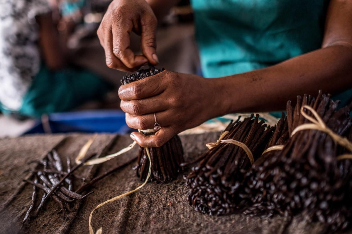 Workers sort through bundles of vanilla at a warehouse in Antalaha, Madagascar.