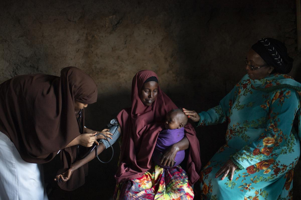 """""""This is part of Dr. Edna Ismail's team doing outreach in a remote village in Somaliland,"""" Addario says. """"They do a similar thing like in Afghanistan, where they make an announcement for any pregnant and lactating women to come for a prenatal check. That'"""
