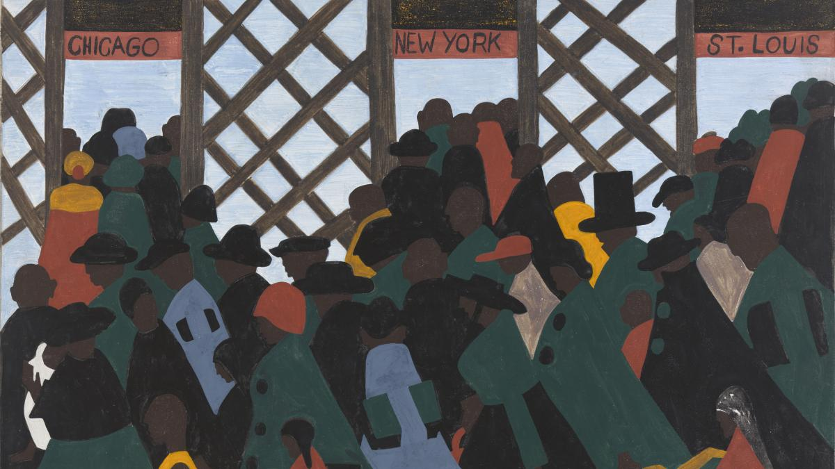 A series of 60 paintings by Jacob Lawrence captures the journeys of millions of African-Americans who left the Jim Crow South in search of better lives elsewhere.