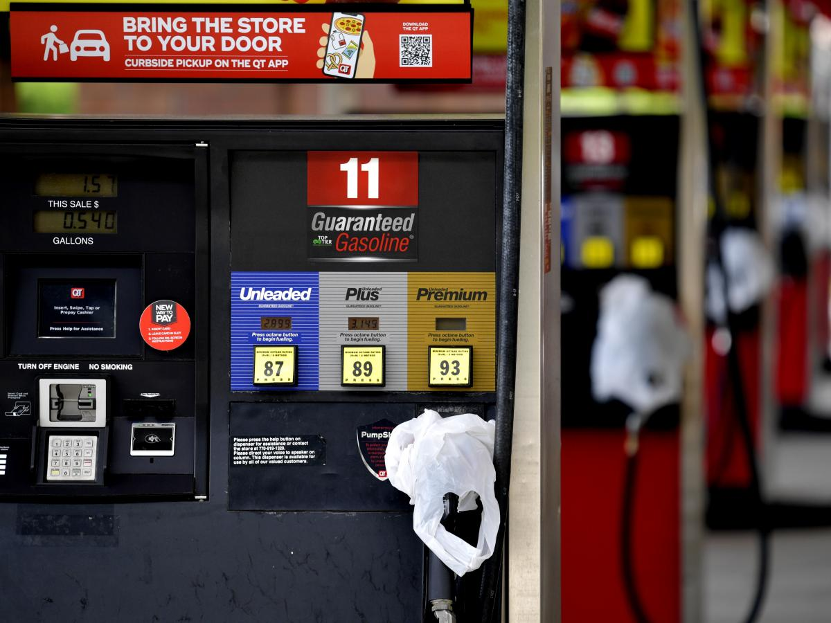 A QuickTrip convenience has bags on its pumps as the station has no gas on Tuesday in Kennesaw, Ga. Colonial Pipeline, which delivers about 45% of the fuel consumed on the East Coast, halted operations last week after revealing a cyberattack that it said