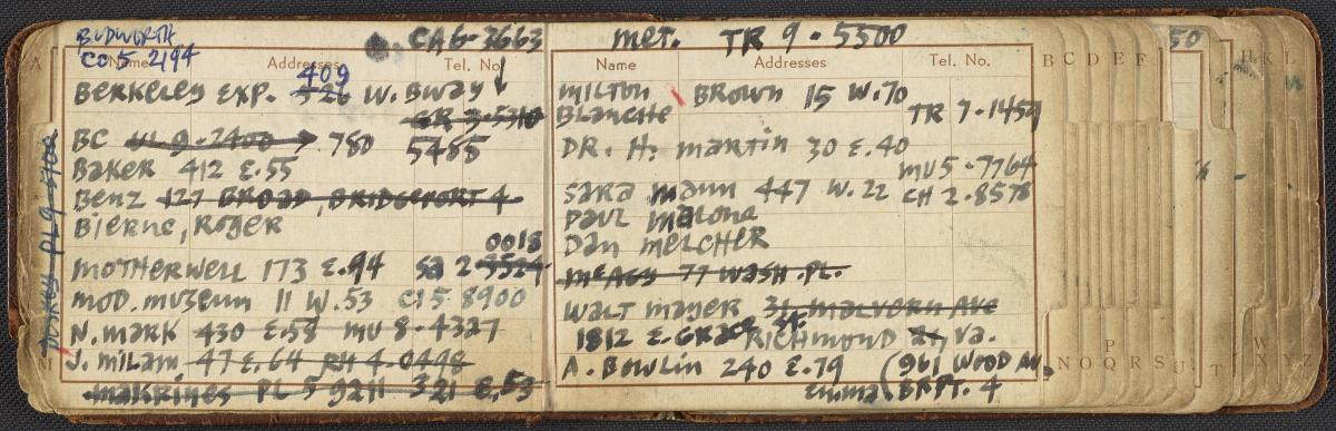 Ad Reinhardt's address book, circa 1950-1965