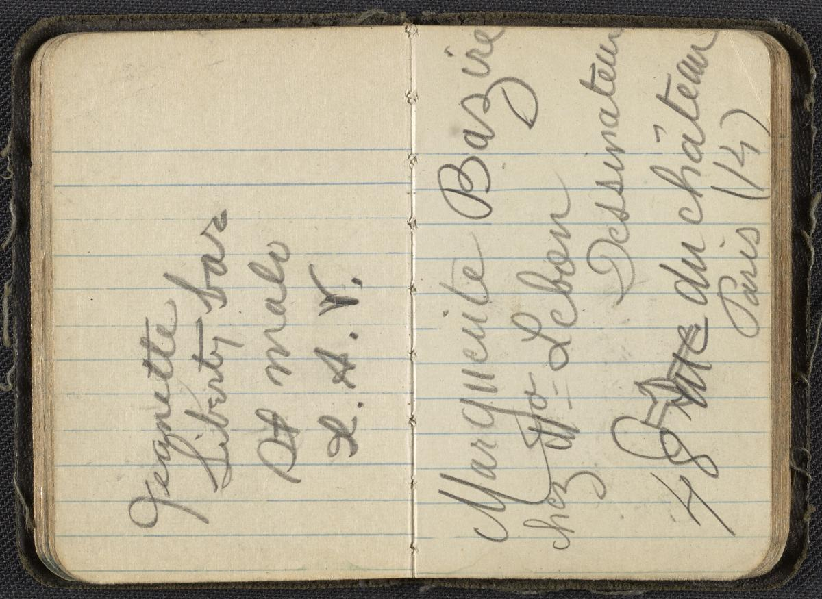 Palmer Hayden's address book, circa 1927-1932