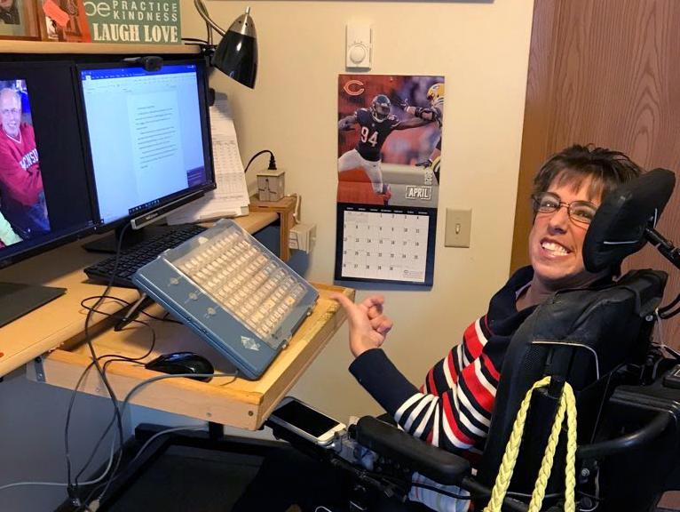 Stacy Ellingen, 34, of Oshkosh, Wis., has used a power wheelchair since the age of two due to complications from cerebral palsy. After the pandemic began, she lost two of the three rotating caregivers she depends on to dress, shower, eat and use the bathr