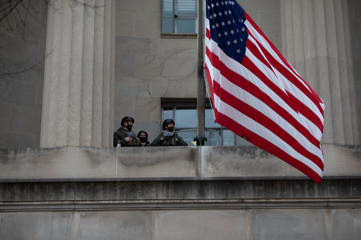 The National Guard keep watch from the U.S. Capitol.