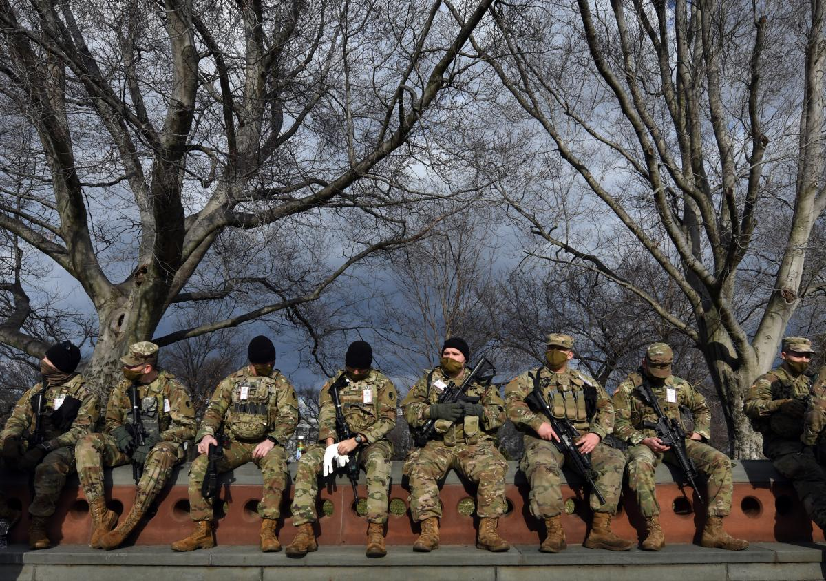 National Guard troops provide security at the U.S. Capitol for the upcoming inauguration for President-elect Joe Biden amid threats by extremist supporters of Donald Trump in Washington DC on January 17, 2021. There were threats to storm capitols in all 5