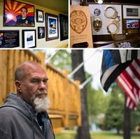 The basement of Frank Stewart's home in Flagstaff is filled with photographs and other reminders of his son, Tyler. Frank (bottom) also has several flags on display outside his home in honor of Tyler.