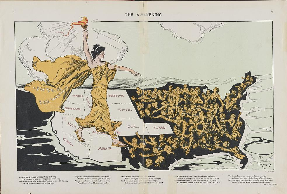 """This 1915 illustration by Henry Mayer of a torch-bearing female labeled """"Votes for Women,"""" symbolizes the awakening of the nation's women to the desire for suffrage, striding across the western states, where women already had the right to vote, toward the"""