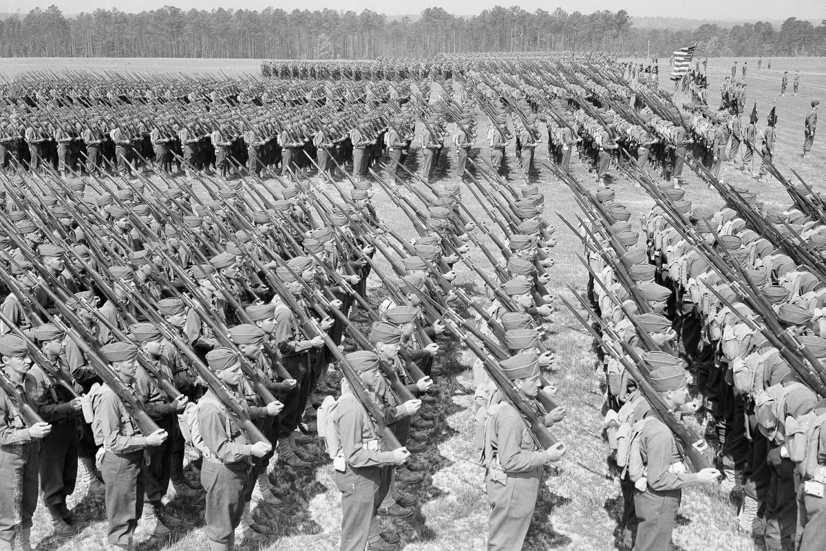 Selective service trainees at Fort Benning, Ga., in 1941. Fort Benning is one of 10 bases bearing the last names of rebel generals created over the course of World War I and World War II.