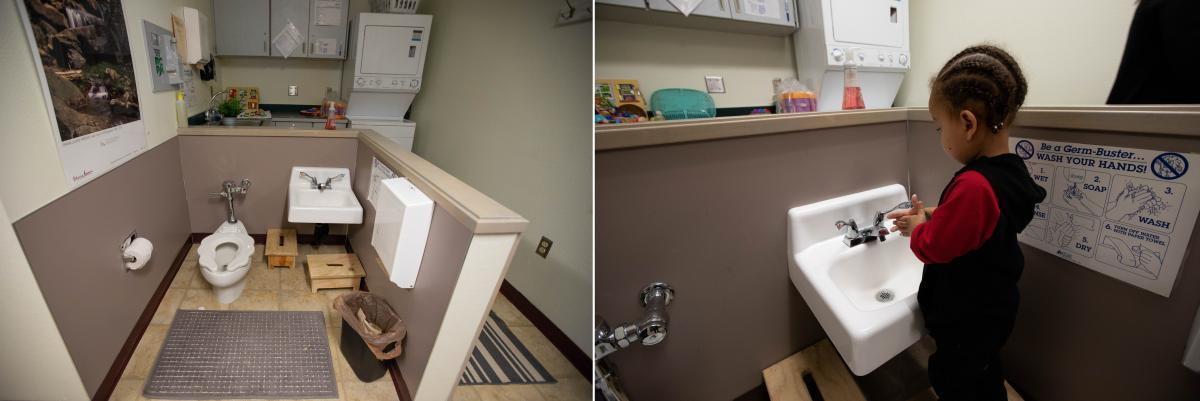 The bathroom at the in-prison daycare is outfitted to be toddler-friendly.