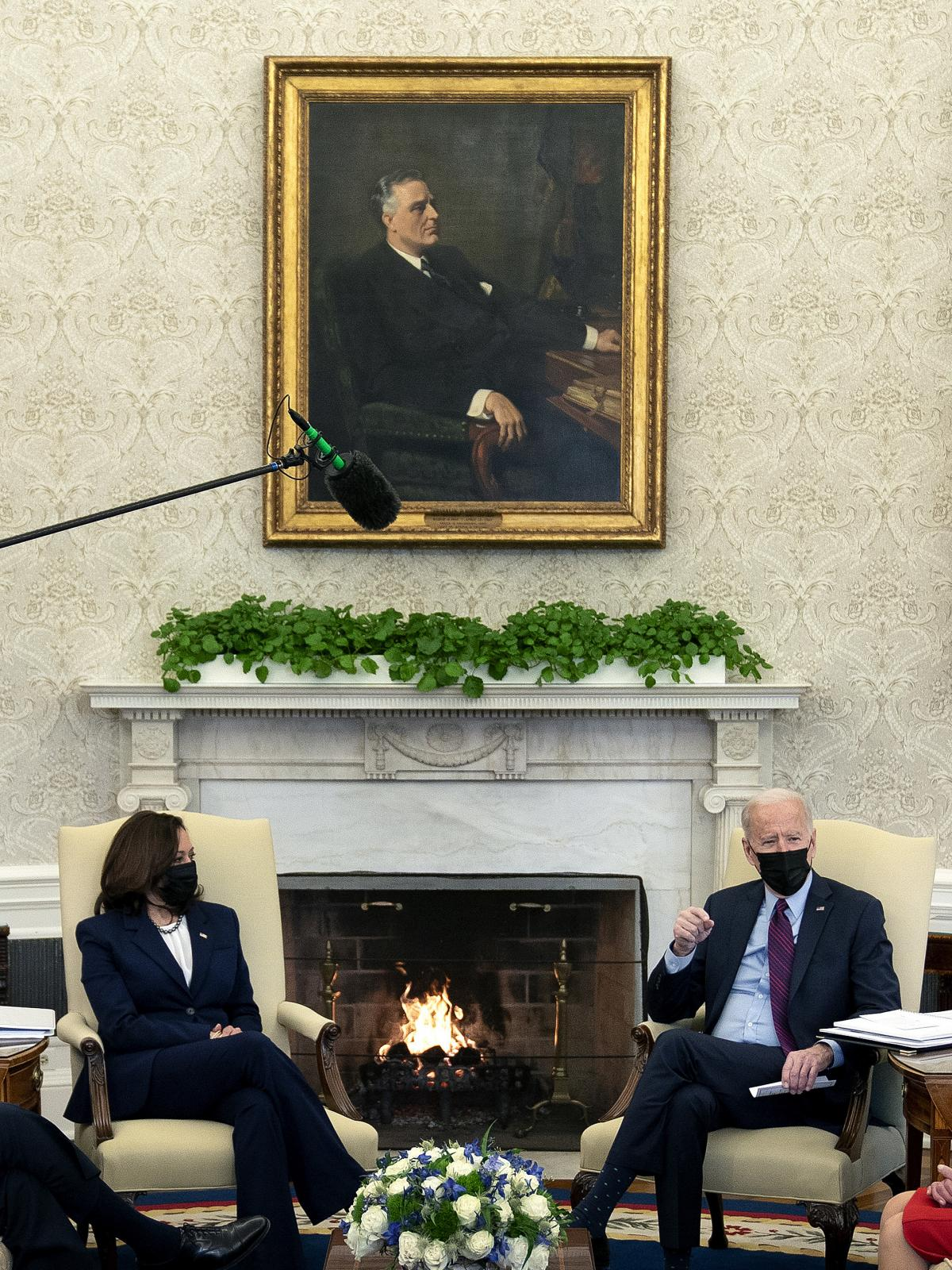 A portrait of Franklin Roosevelt is a centerpiece in President Biden's Oval Office, signaling his promise of an ambitious presidency in a national crisis.