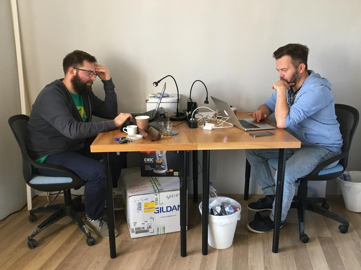 Journalists Ervin Guth (left) and Ferenc Nimmerfroh work out of a small office in downtown Pecs, a city in southern Hungary. They and colleague Attila Babos started the independent news site Szabad Pecs (Free Pecs) after the local newspaper where they wor