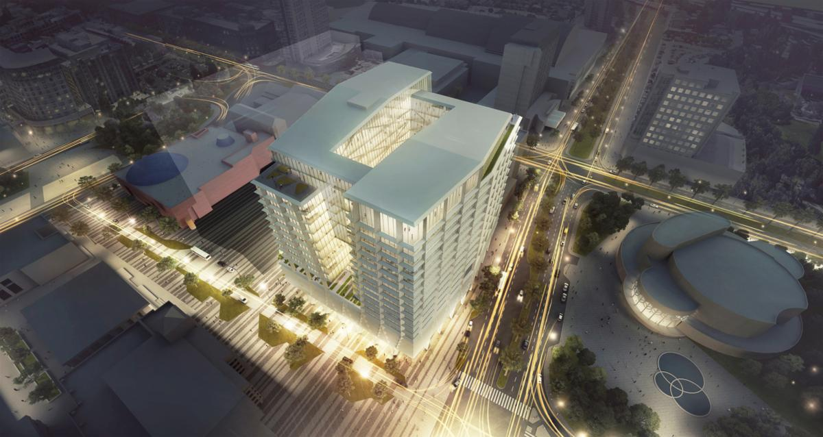 This office tower design for a building in San Jose, Calif., incorporates a large central light well to maximize the amount of natural light that will reach each floor.