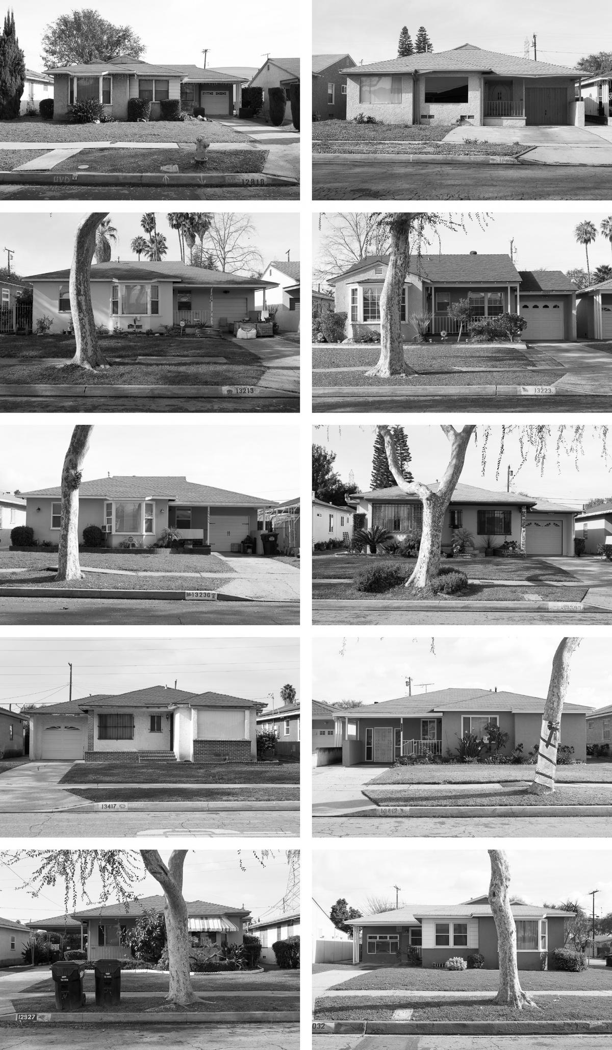 """Homes from the Carver Manor section of Willowbrook, Calif. A Black real estate agent named Velma Grant acquired the land for these 250 tract homes and hired Williams to design them for Black veterans returning from World War II. Instead of creating """"cooki"""
