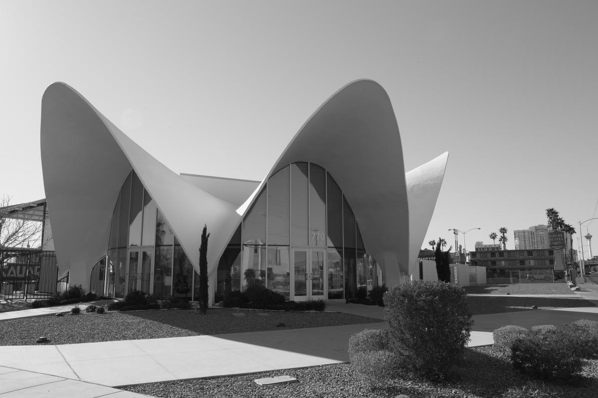 This futuristic, Googie-style building designed by Williams was once the lobby of La Concha Motel in Las Vegas. In 2005, the motel was demolished, but the lobby was relocated and preserved by The Neon Museum in Las Vegas.