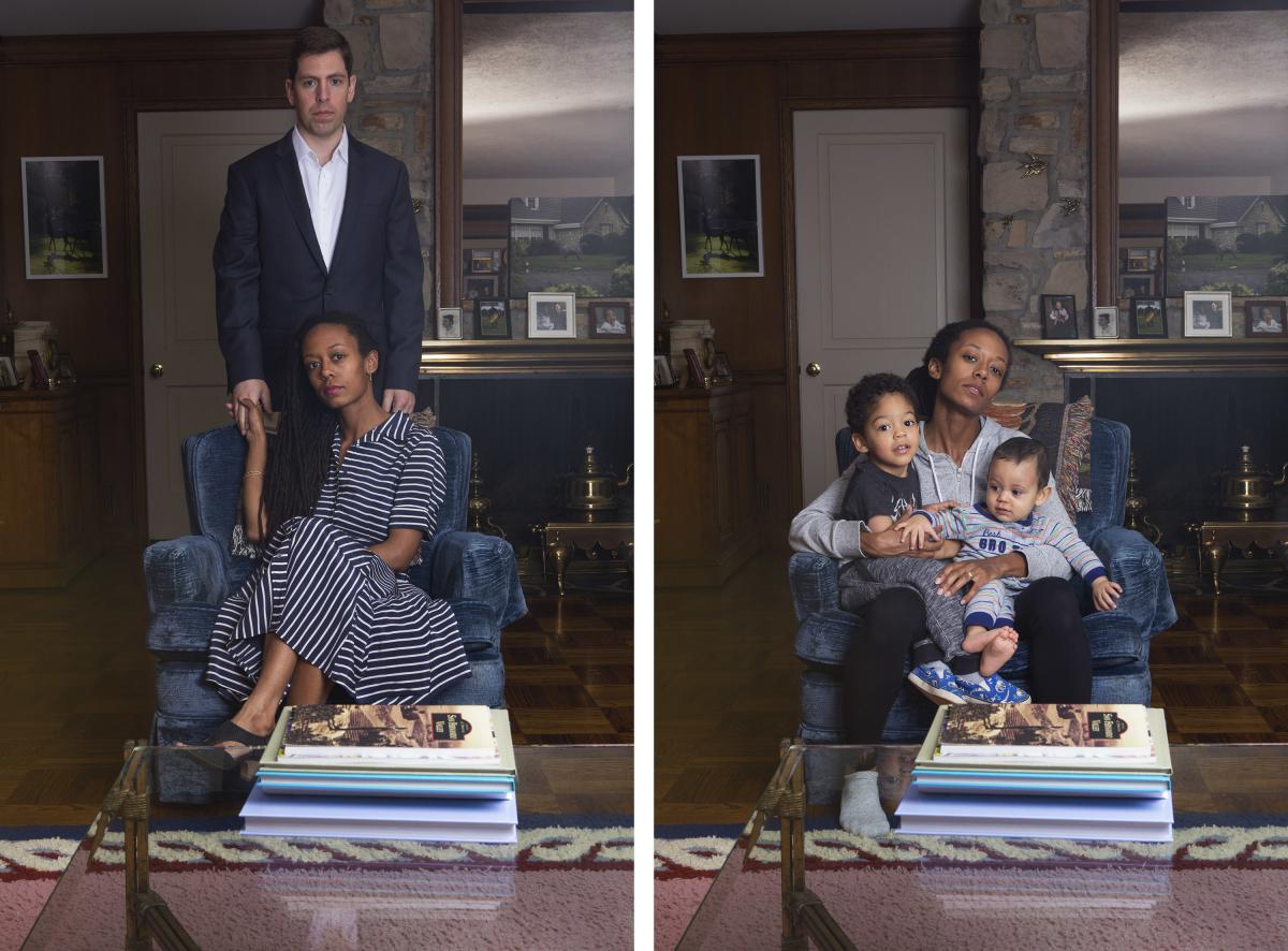 From photographer Janna Ireland's project Milk and Honey: (Left) Portrait of Ireland and her husband.(Right) Portrait of Ireland and her two sons.