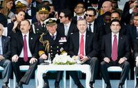 Britain's Prince Charles and Turkey's President Recep Tayyip Erdogan (front and center) attend a service marking the 100th anniversary of the battle of Gallipoli, one of the most monumental clashes of World War I. The event was held at the Canakkale Turki