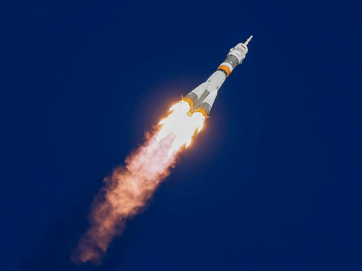 The Soyuz MS-10 spacecraft carrying astronaut Nick Hague of the U.S. and cosmonaut Alexey Ovchinin of Russia blasted off from the launch pad at the Baikonur Cosmodrome, Kazakhstan, on Thursday.