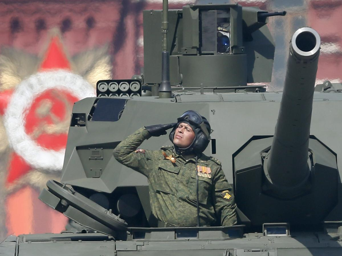 The new Russian Armata T-14 tank shown during the Victory Day military parade in the Red Square in Moscow, on Saturday.