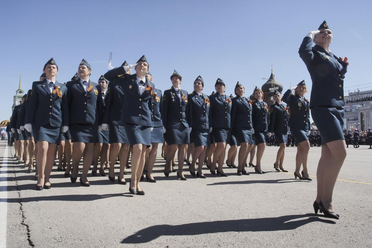 Russian Emergencies Ministry members march during the Victory Day parade in Tula, Russia.