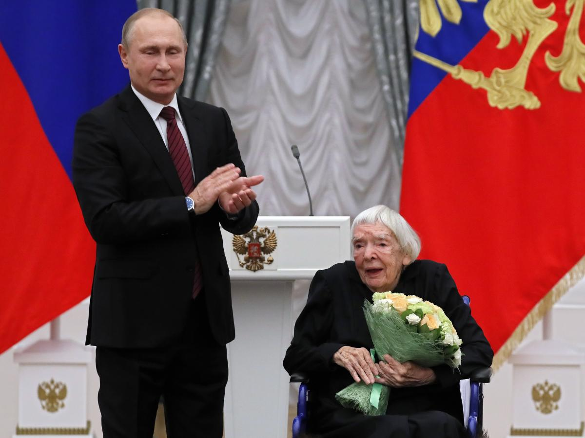 Russian President Vladimir Putin tried to co-opt the legacy of human rights activist Lyudmila Alexeyeva while she was still alive. Here, he congratulates Alexeyeva last December during a ceremony at the Kremlin to present the 2017 State Awards for Outstan