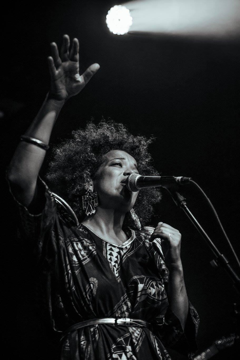 Bernard, who performs under the name Kate Priestley, onstage with her band KP and the Boom Boom in 2016. The pandemic has put the band's live performances on hold.