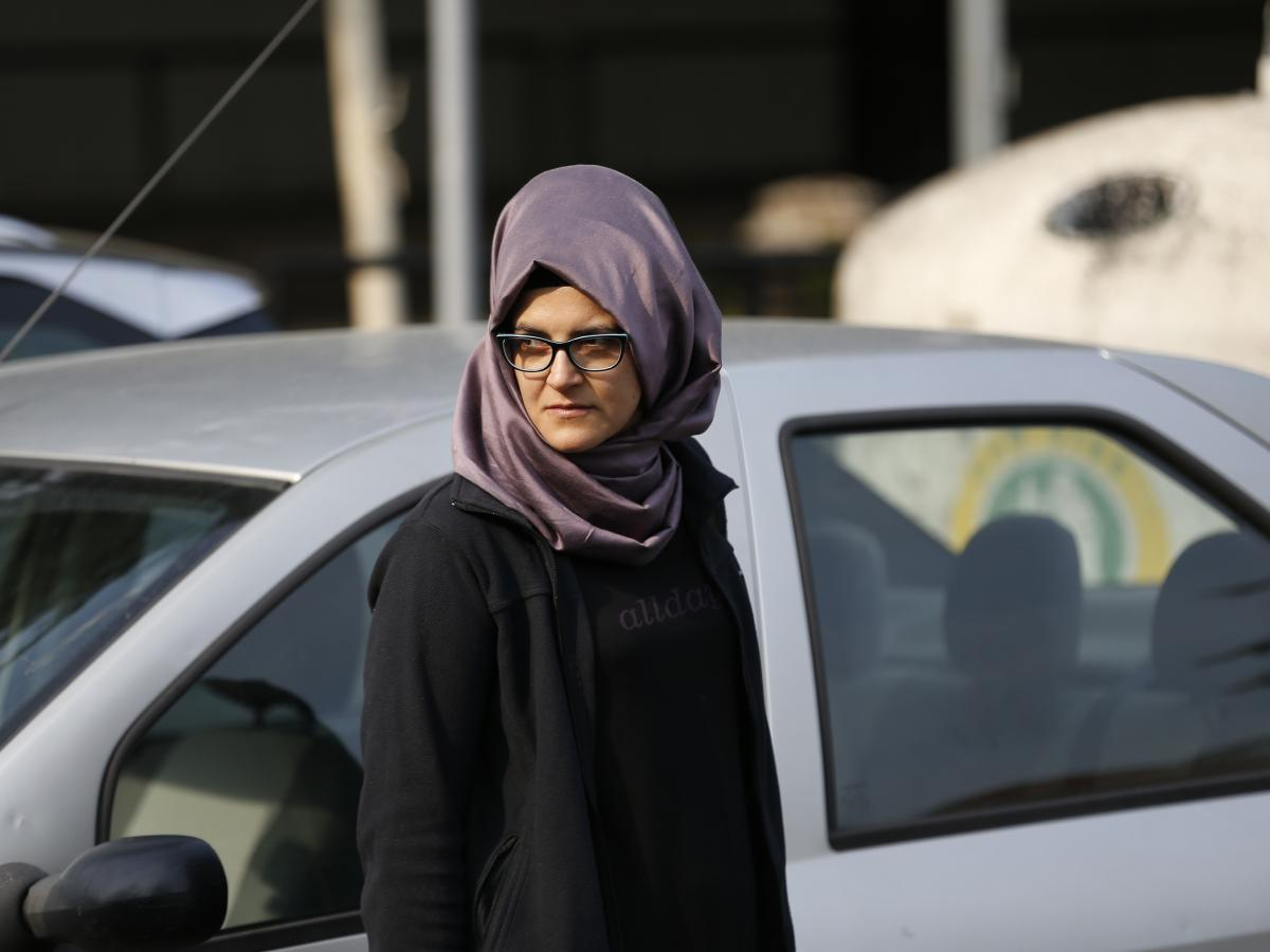 The Turkish fiancee of Khashoggi, who identified herself as Hatice A., stood outside of the Saudi consulate on Wednesday.