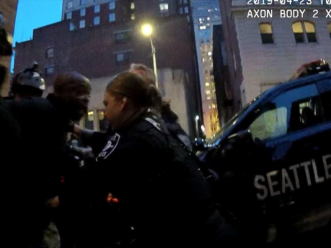 In this incident in April, captured on a police officer's body camera, it took nearly two hours of negotiations and at least a dozen police officers to safely subdue a man with mental illness who had taken over an alleyway.