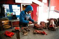 Slagter Joel Jørgensen pelser rensdyrhoveder på et marked i Nuuk.