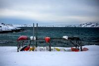Kajakker i en bugt i den sydlige udkant af Nuuk.