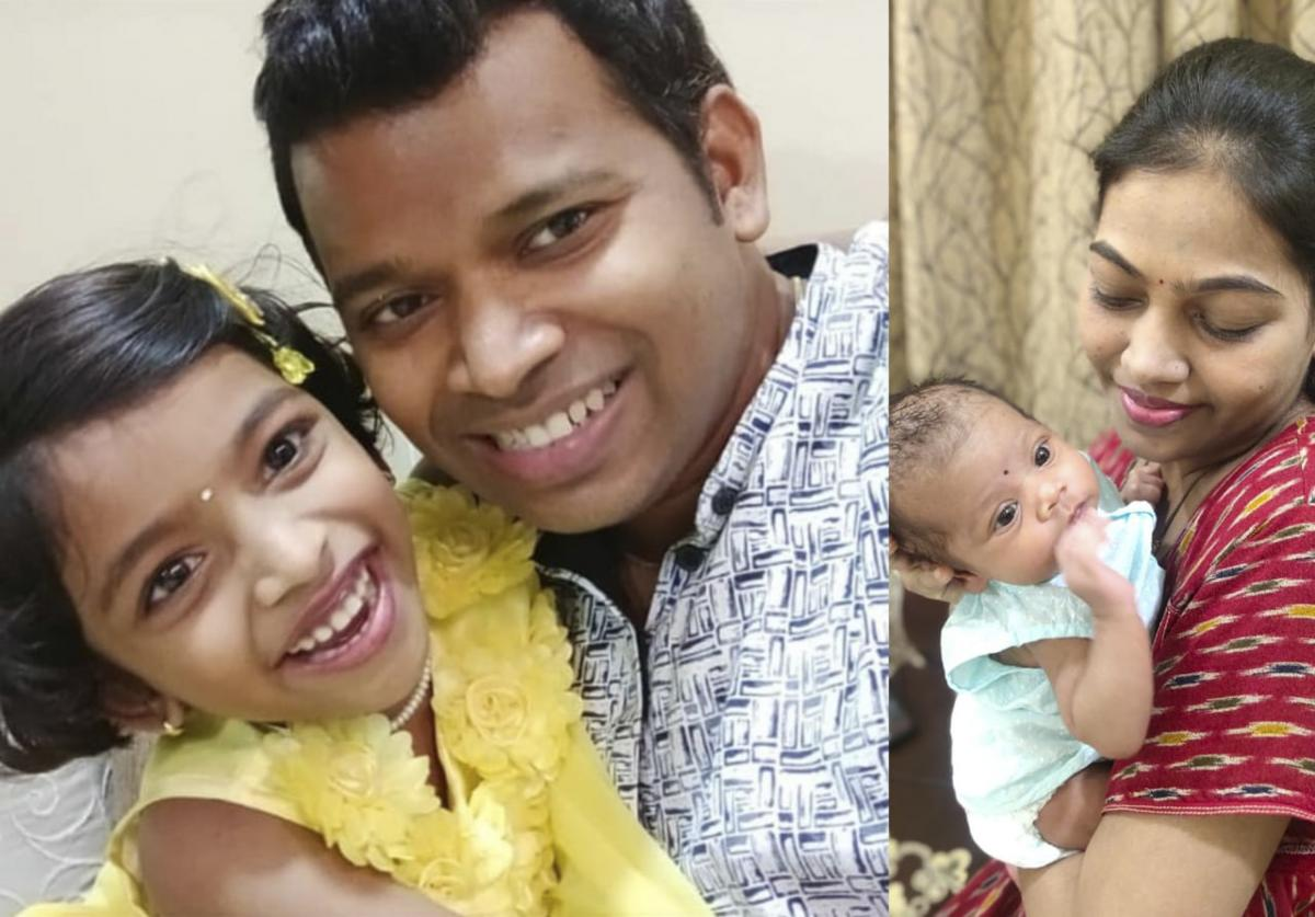 Anup Gabale and Ankita Gabale with their children.