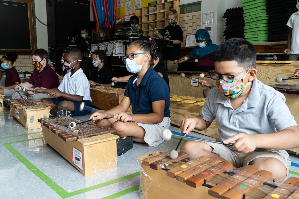 Students in Quesada's third grade music class all get the opportunity to play a xylophone. Quesada does what she can to keep the instruments clean. Her xylophones are expensive and wiping them down regularly could ruin them, so instead she spends her morn
