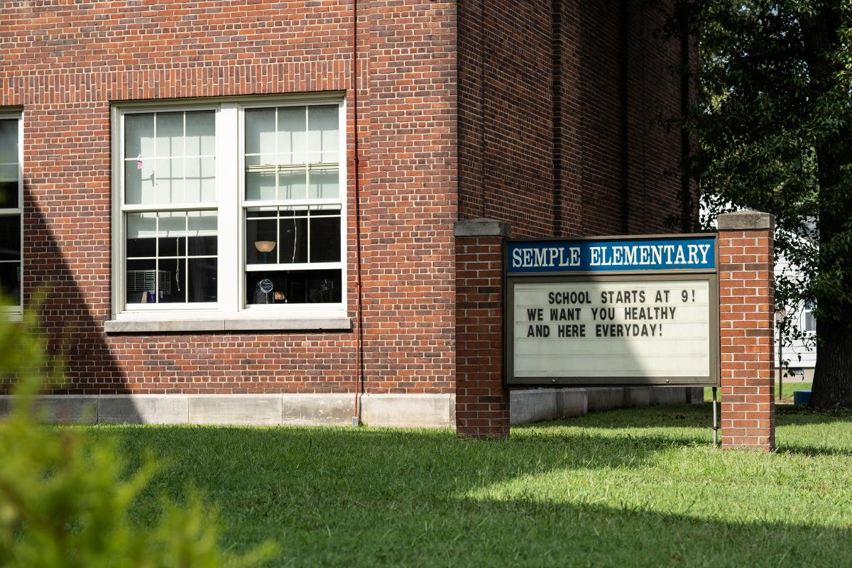 The sign outside Semple Elementary reminds students they are wanted in school everyday.