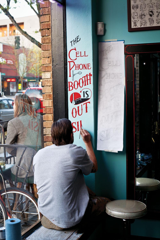 Sean Barton painting in Seattle.