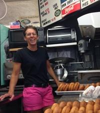 Tina Merrihew is co-owner of the Donut Shop, a combination donut-shop-gift-store-laundromat establishment.