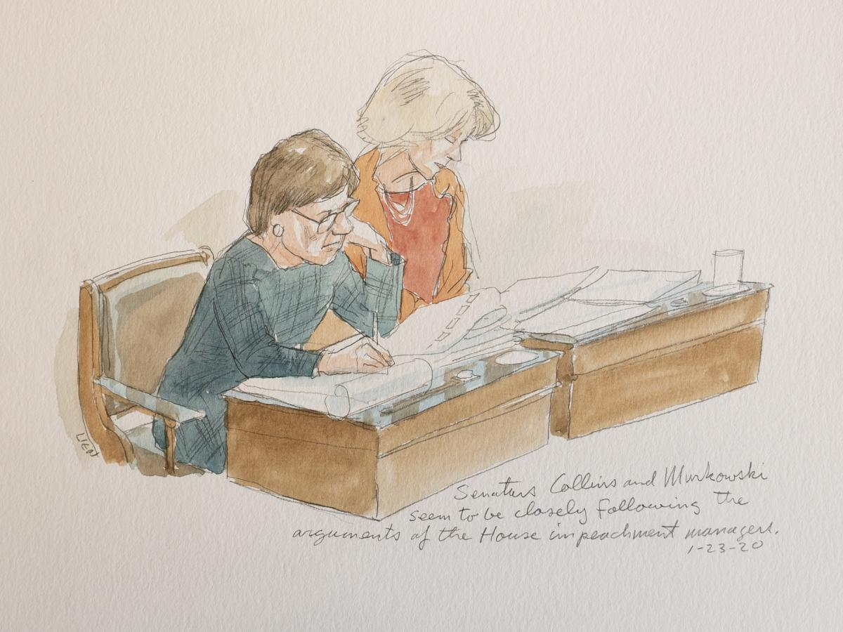 """A sketch of Sens. Susan Collins of Maine and Lisa Murkowski of Alaska during the impeachment trial of President Trump. """"They seem to be ... following along the arguments very closely,"""" says sketch artist Art Lien."""