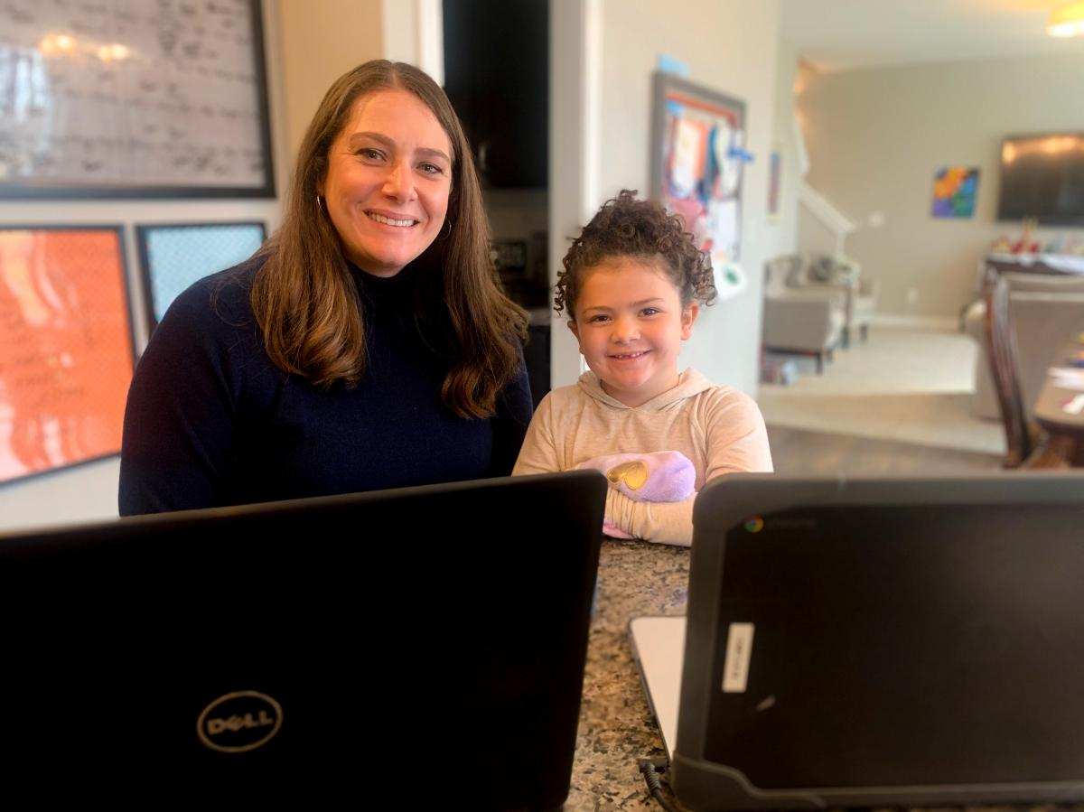 Annie Harrison at home with her 5-year-old daughter.