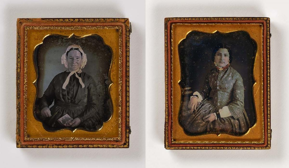 (Left) Untitled (smiling woman, photo case), ca. 1850, sixth-plate daguerreotype; (Right) Untitled (woman with books), undated, quarter-plate daguerreotype. Smithsonian American Art Museum, the L. J. West Collection of Early African American Photography,