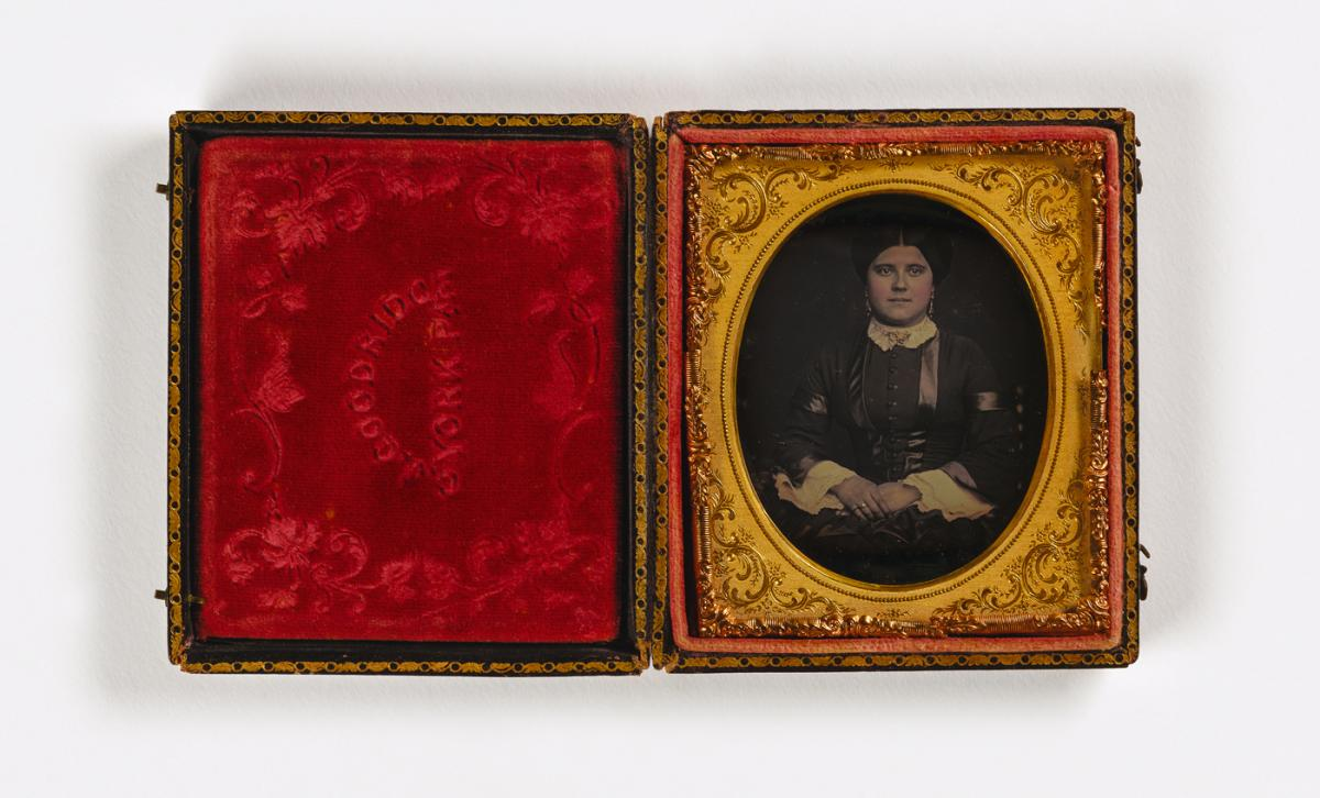 Untitled (woman, gold jewelry), ca. 1851 or later, sixth-plate daguerreotype. Smithsonian American Art Museum, the L. J. West Collection of Early African American Photography, Museum purchase made possible through the Franz H. and Luisita L. Denghausen En