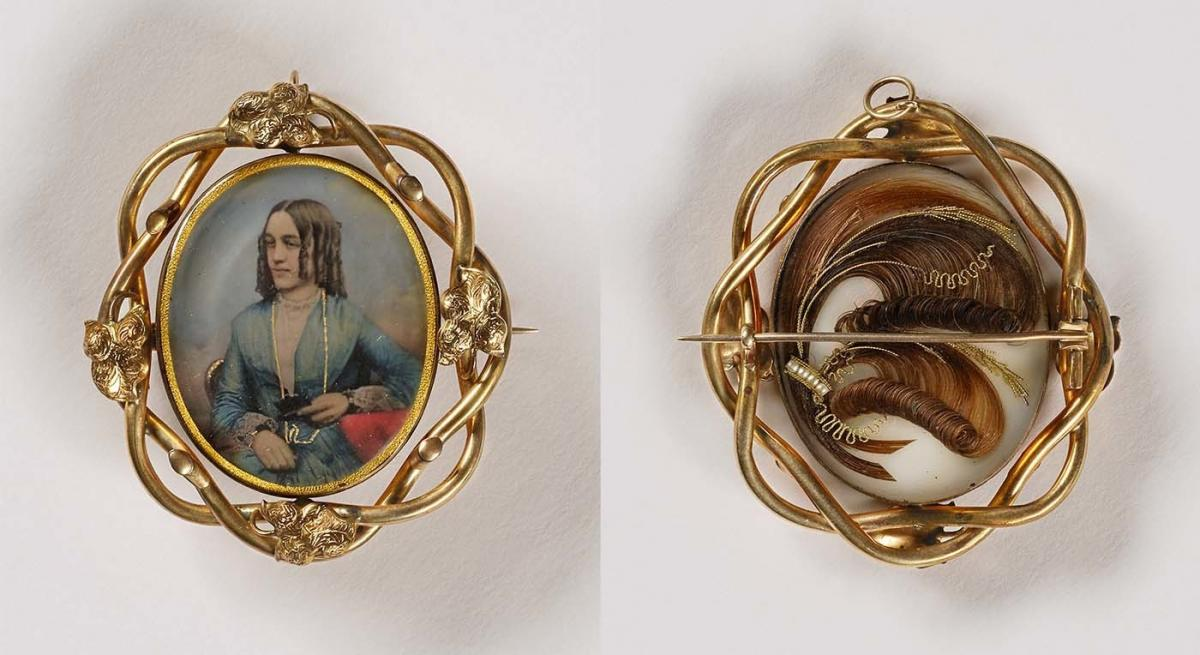 Unidentified artist, Untitled (pin/pendant, woman with curls; verso, with sculpted hair), 1853, daguerreotype in metal setting. Smithsonian American Art Museum, the L. J. West Collection of Photographic Jewelry, Museum purchase made possible through the F