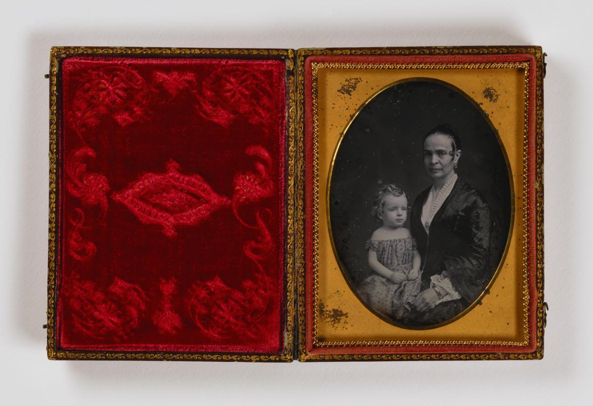 Untitled (woman with child on lap), undated, quarter-plate daguerreotype. Smithsonian American Art Museum, the L. J. West Collection of Early American Photography, Museum purchase made possible through the Franz H. and Luisita L. Denghausen Endowment.
