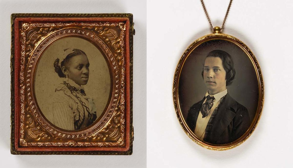(Left) Unidentified artist, Untitled (woman with hair ribbon), undated, sixth-plate ambrotype. (Right) Unidentified artist, Untitled (large pendant, young man), 1840-1849, daguerreotype in metal setting. Smithsonian American Art Museum, the L. J. West Col