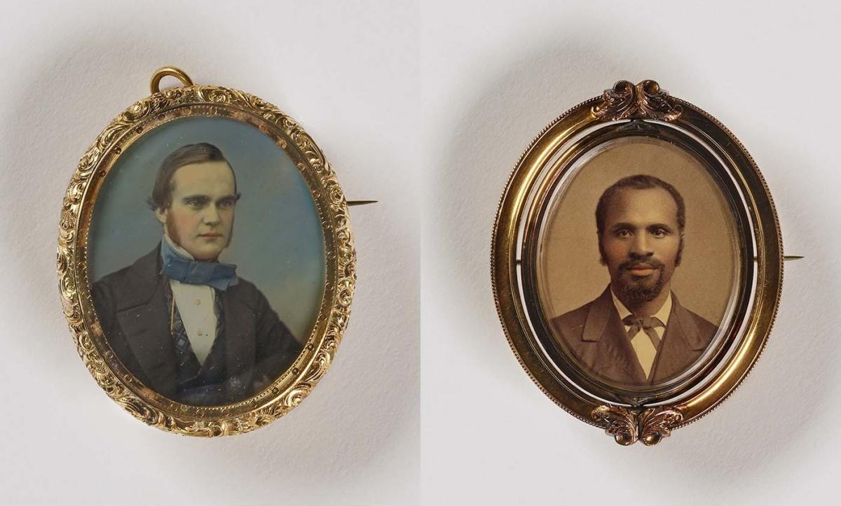 (Left) Unidentified artist, Untitled (pin/pendant, man with large tie), 1848, daguerreotype in metal setting. (Right) Unidentified artist, Untitled (brooch, man with goatee), undated, albumen print in metal setting. Smithsonian American Art Museum, the L.