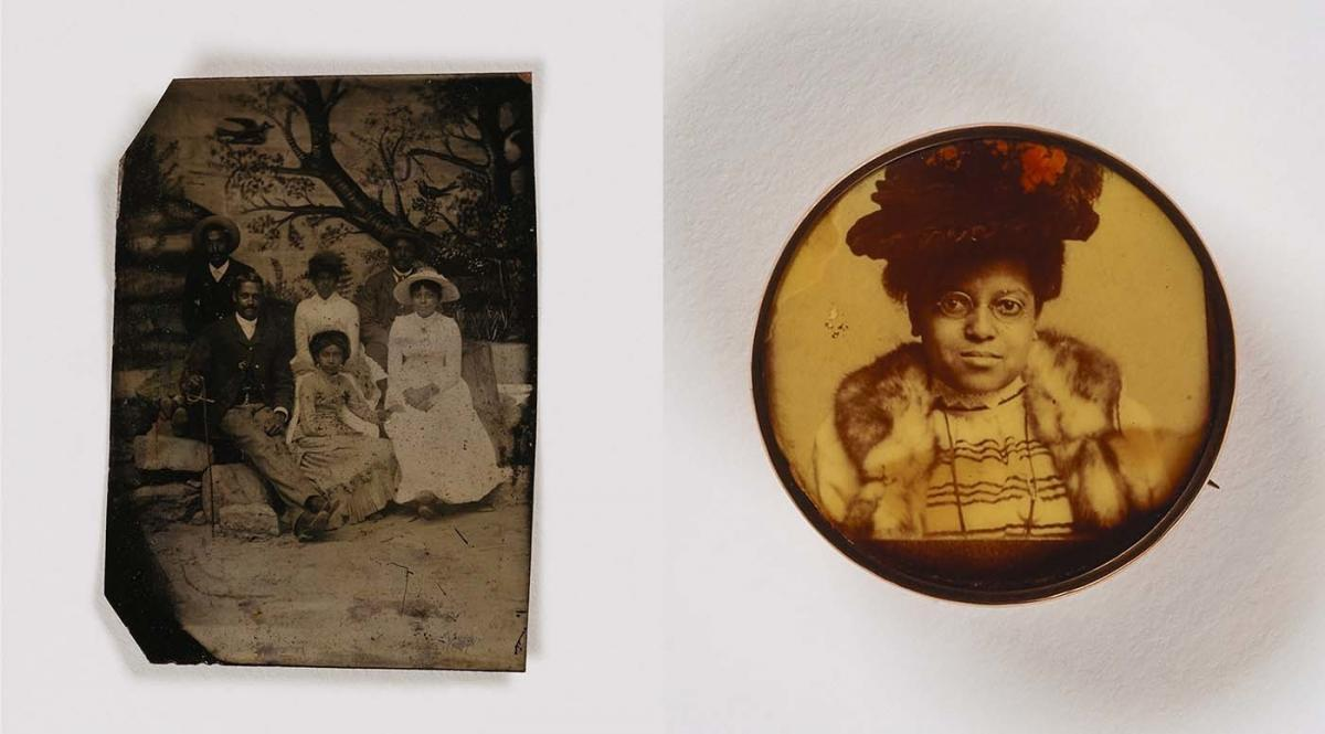 (Left) Unidentified artist, Untitled (family, painted backdrop), undated, tintype. Unidentified artist, Untitled (pin, woman in hat), undated, celluloid in metal setting. Smithsonian American Art Museum, the L. J. West Collection of Early American Photogr