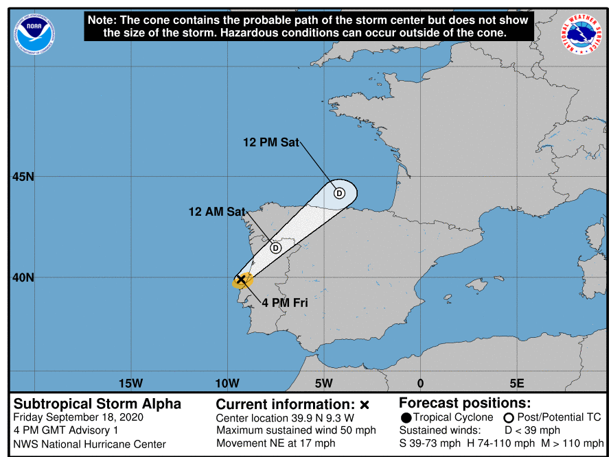 Subtropical Storm Alpha has formed off the coast of Portugal and is expected to be a short-lived storm, according to the National Hurricane Center.