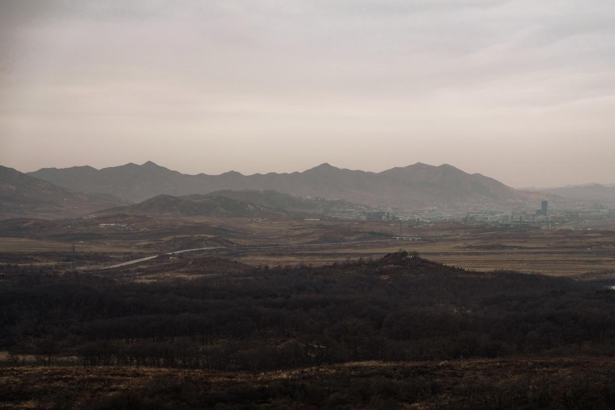 The view from the Dorasan observatory, looking into North Korea, with the city of Kaesong and its joint industrial zone in the distance.
