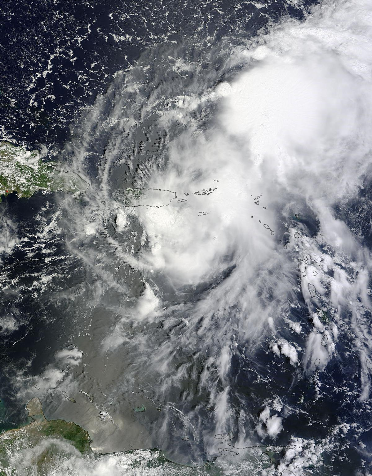 A NASA satellite captured this image of Tropical Storm Gabrielle on Sept. 5 as it was approaching Puerto Rico.
