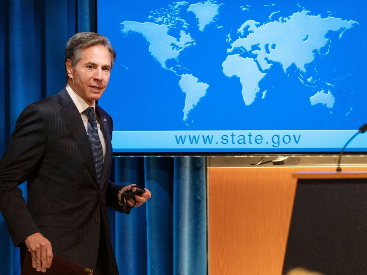 Secretary of State Antony Blinken arrives at a news conference at the State Department in Washington, D.C., on Friday. A new report urges the State Department to implement key changes to improve its local approach and diversity.