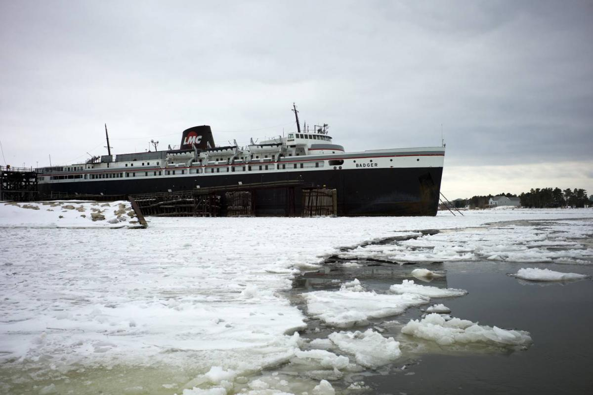 The nation's last coal-burning ferry, the SS Badger, sits on Lake Michigan in the port town of Ludington, Mich. The EPA permit that has long allowed the ship to dump coal ash into the lake is now under review.