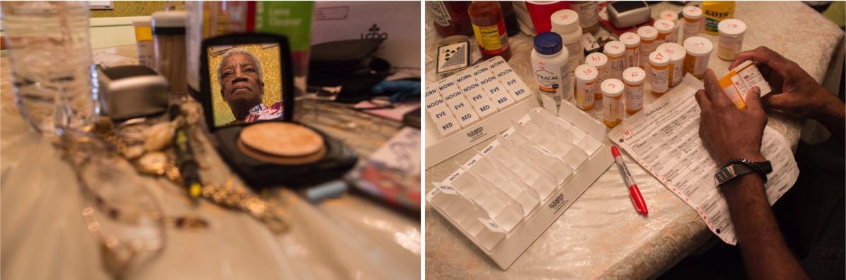 Left: After dinner, Juanita relaxes at the dining table, where she spends much of her day reading the Bible and where she keeps daily necessities within easy reach. Right: Juanita takes 17 types of medication every day. Charleston carefully sorts her dose